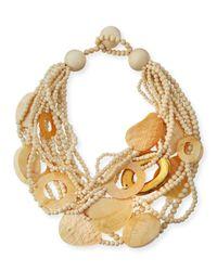 Viktoria Hayman - Metallic Multi-strand Wood & Mother-of-pearl Necklace - Lyst