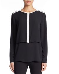 Lord & Taylor | Black Double Layered Tunic | Lyst