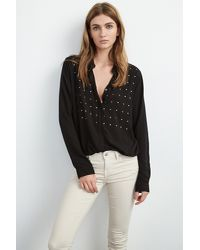 Velvet By Graham & Spencer - Black Ursa Nailhead Embroidered Blouse - Lyst
