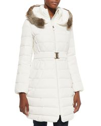 Elie Tahari - White Tokyo Belted Puffer Coat With Fur-trim Hood - Lyst