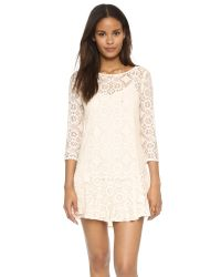 Free People | Natural Walking To The Sun Lace Dress - Cream | Lyst