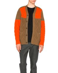 Sacai | Orange Cable Knit Cardigan | Lyst