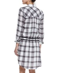 Veronica Beard - Purple Marcy Plaid Tie-waist Shirtdress - Lyst