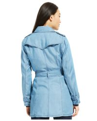 Tommy Hilfiger | Blue Belted Tencel Trench Coat | Lyst