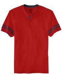 American Rag - Red Raw Edge Short-Sleeve Henley Shirt for Men - Lyst