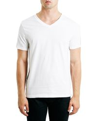 TOPMAN | White V-neck T-shirt for Men | Lyst