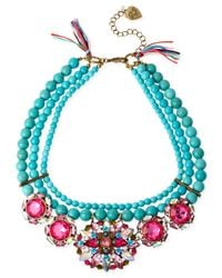 Betsey Johnson | Blue Gold-Tone Mixed Faceted Bead Semiprecious Turquoise Necklace | Lyst