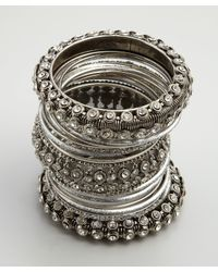 Chamak by Priya Kakkar - Metallic Set Of 24 Silver Glitter and Crystal Bangles - Lyst
