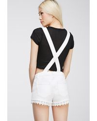 Forever 21 | Natural Crochet-trimmed Overall Shorts | Lyst