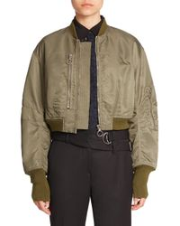 3.1 Phillip Lim | Green Cropped Bomber Jacket | Lyst