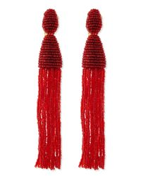 Oscar de la Renta - Red Long Beaded Tassel Clip Earrings - Lyst