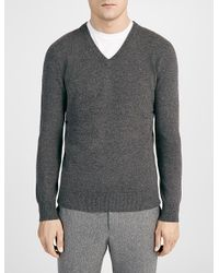 JOSEPH | Gray Cashmere V Neck Top for Men | Lyst