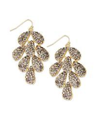 INC International Concepts - Multicolor Goldtone Black Diamond Glass Layered Leaves Chandelier Earrings - Lyst
