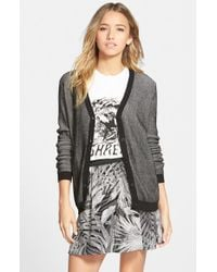 RVCA - Black 'feel For It' Button Front Cardigan - Lyst