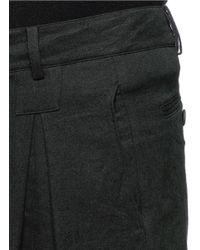Ziggy Chen - Black Inverted Pleat Front Linen-wool Pants for Men - Lyst