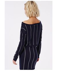Missguided - Blue Off Shoulder Stripe Knitted Cropped Jumper Navy And White - Lyst