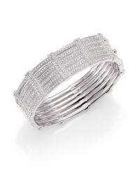 Adriana Orsini | Metallic Pavé Gate Bangle Bracelet | Lyst