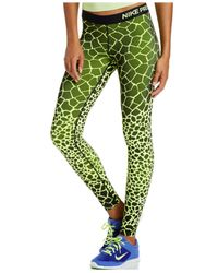 Nike | Green Pro Engineered Dri-fit Giraffe-print Leggings | Lyst