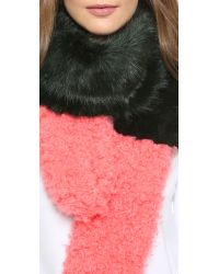 Shrimps - Green Martha Faux Fur Scarf - Lyst