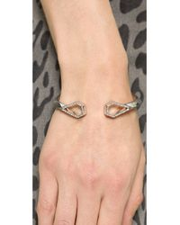 Rebecca Minkoff | Metallic Open Blade Hinge Cuff Bracelet - Crystal | Lyst