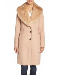 Eliza J | Natural Faux Fur Collar Long Wool Blend Coat | Lyst