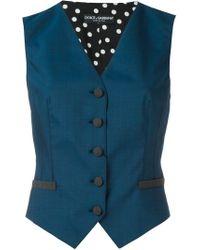Dolce & Gabbana | Blue Sleeveless Wool-Blend Waistcoat | Lyst