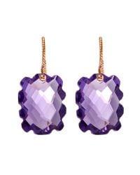 Laurent Gandini - Rose Gold Light Purple Scalloped Rectangular Amethyst Earrings - Lyst