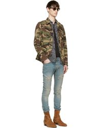 Saint Laurent - Natural Khaki Green Canvas Military Jacket for Men - Lyst