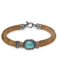 Platadepalo - Blue Classic Leather Bracelet With Chalcedony - Lyst