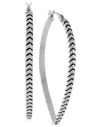BCBGeneration | Metallic Silver-tone Chevron Teardrop Hoop Earrings | Lyst