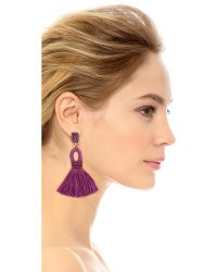 Oscar de la Renta - Purple Short Tassel Clip On Earrings - Lyst