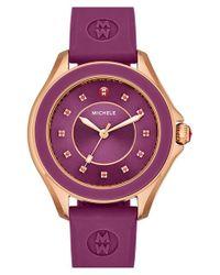 Michele - Purple 'cape' Topaz Dial Silicone Strap Watch - Lyst