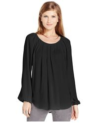 Karen Kane | Black Pleat-front Peasant Top | Lyst