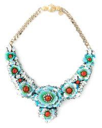 Shourouk - Blue 'apolonia Flower' Necklace - Lyst