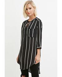 Forever 21 | Black High-slit Striped Shirt | Lyst