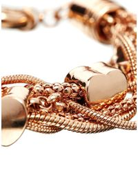 Oasis - Metallic Heart Mixed Chain Rose Gold Bracelet - Lyst