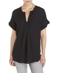 Max Studio | Black Short Sleeve Solid Top | Lyst