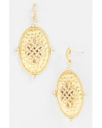 Freida Rothman | Metallic 'gramercy' Love Knot Oval Shield Earrings | Lyst
