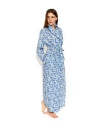 Liberty - Blue Poppy And Honesty Long Robe - Lyst