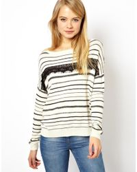 ASOS | White Striped Jumper with Lace Detail | Lyst