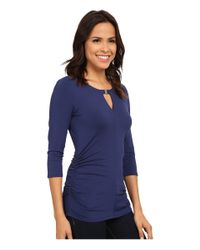 Vince Camuto | Blue 3/4 Sleeve Keyhole Top W/ Hardware | Lyst