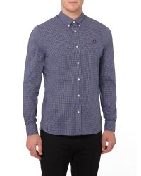 Stussy | Blue Micro Marl Gingham Long Sleeve Button Down Shirt for Men | Lyst
