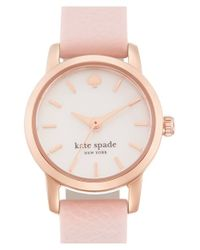 kate spade new york - Pink 'tiny Metro' Leather Strap Watch - Lyst