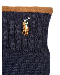 Polo Ralph Lauren | Blue Merino Wool & Suede Gloves | Lyst