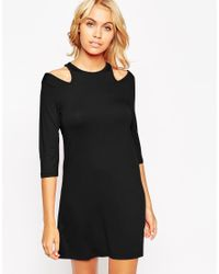 ASOS | Black Shift Dress With Cold Shoulder | Lyst