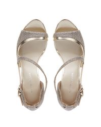 Karen Millen | Metallic Glitter Fabric Open Peep Toe Sandal | Lyst