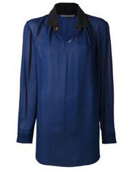 Alberta Ferretti - Blue Jeweled Blouse - Lyst