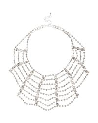 River Island - Metallic Silver Tone Embellished Statement Necklace - Lyst