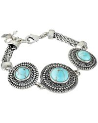 Lucky Brand | Blue Turquoise And Silver Link Bracelet | Lyst