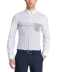 BOSS Green | White 'bour' | Slim Fit, Stretch Cotton Button Down Shirt for Men | Lyst